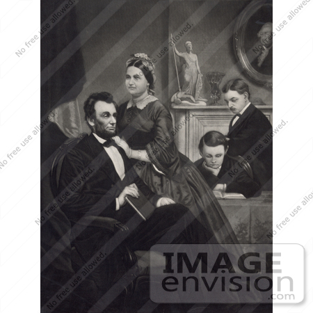 #20259 Historical Stock Photography: Abraham Lincoln, Mary Todd and Thomas and Robert Todd at Home by JVPD