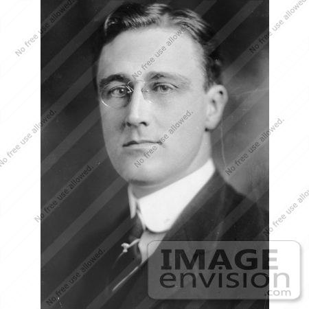 #20264 Historical Stock Photography: American President Franklin Delano Roosevelt Wearing Spectacles by JVPD