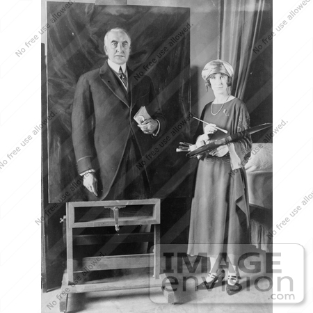 #20351 History Stock Photo of Artist Margaret Lindsay Williams Painting a Portrait of President Harding by JVPD