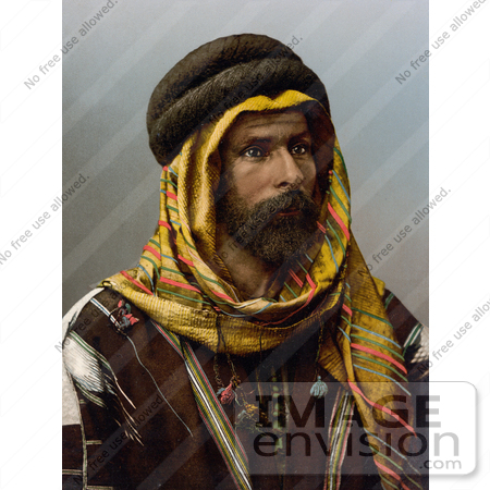 #20416 Historical Stock Photography of a Bedouin Chief of Palmyra, Holy Land, Tadmur, Syria by JVPD