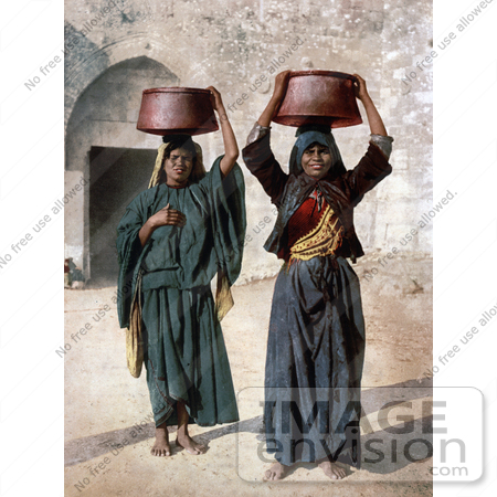 #20433 Historical Stock Photography of Two Female Milk Sellers in Siloam by JVPD