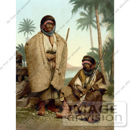 #20452 Historical Stock Photography of two Bedouin Shepherds of Syria, Holy Land, Holding Rifles by JVPD