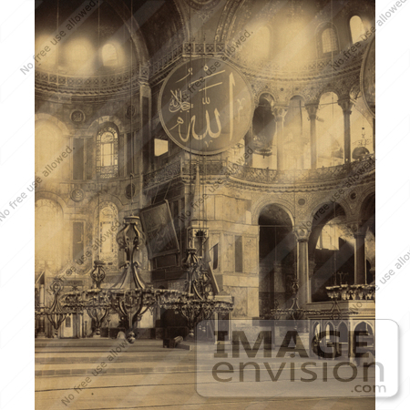 #20477 Historical Stock Photography of the Interior Part of the Nave of Ayasofya Mosque, Hagia Sophia by JVPD