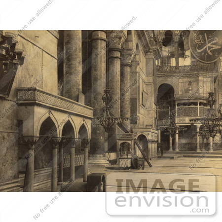 #20487 Historical Stock Photography of the Interior Part of the Nave in the Ayasofya Mosque by JVPD