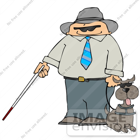 #20510 Clipart of a Blind Man With a Cane, Holding the Leash to His Assistance Dog by DJArt
