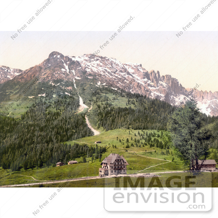#20537 Historical Photochrome Stock Photography of Karersee Pass and Rosengartenhof, Karersee, Tyrol, Austria by JVPD
