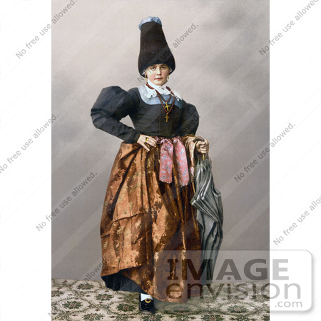 #20564 Historical Photochrome Stock Photography of a Girl From Grodenthal, Grodertal, Tyrol, Austria, in Traditional Dress by JVPD
