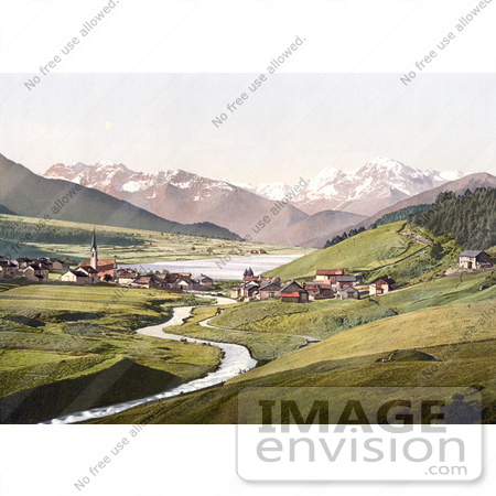 #20667 Historical Photochrome Stock Photography of St. Valentine on the Danube River, Haide With Haidersee and Ortergruppe, Tyrol, Austria by JVPD