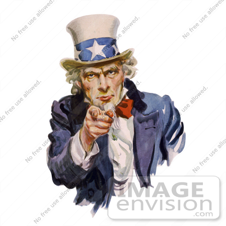 #20720 Stock Photography of Uncle Sam Pointing Outwards, I Want You, Isolated on White by JVPD