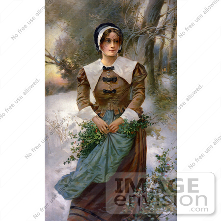 #20723 Stock Photography of a Pretty Puritan Woman Holding Holly in Her Apron While Standing in the Snow by JVPD