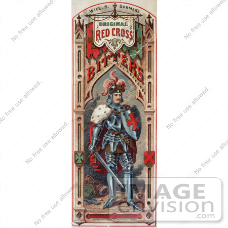 #20726 Stock Photography of a Vintage Medicine Label of a Knight in Armor for a Red Cross Bitters by JVPD