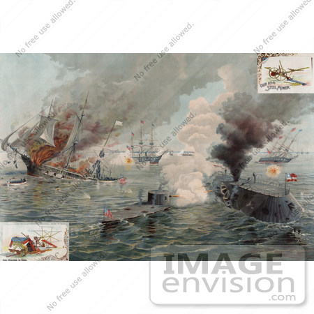 #20730 Stock Photography of Ironclad Warships, the USS Monitor and USS Merrimac During the Battle of Hampton Roads by JVPD