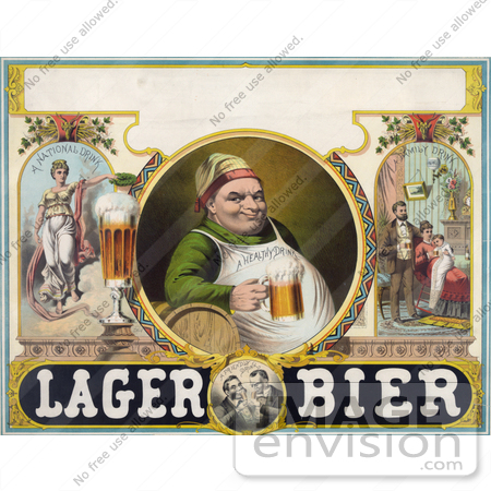 #20739 Stock Photography of a Vintage Lager Bier Advertisement of a Man Drinking a Frothy Mug of Beer by JVPD