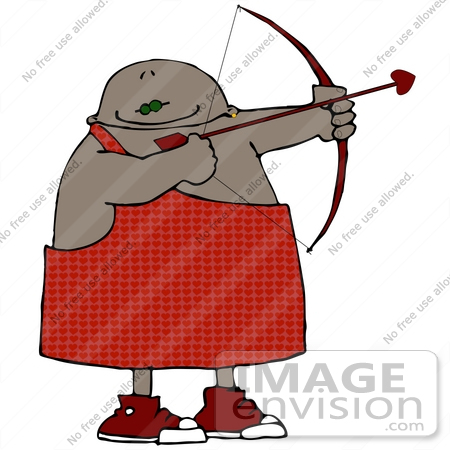 #20746 Clipart of an African American Cupid With a Bow and Arrow on Valentines Day by DJArt