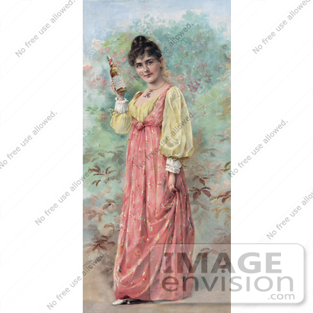#20750 Stock Photography of a Vintage Anheuser Busch Brewing Co Advertisement of a Woman Holding a Bottle of Beer by JVPD