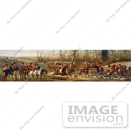 #20754 Stock Photography of a Group of Men on Horseback and Dogs Ready for a Fox Hunt by JVPD
