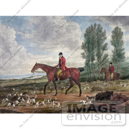 #20756 Stock Photography of Two Men on Horseback, Fox Hunting With Dogs by JVPD