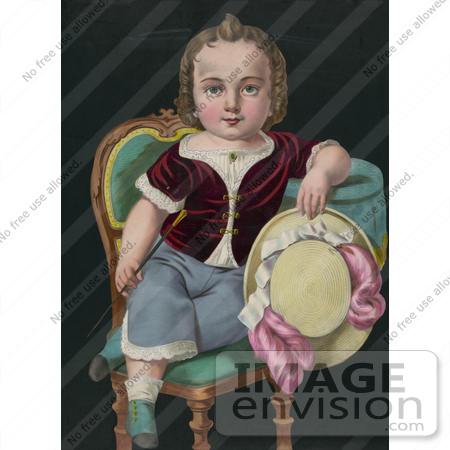 #20772 Stock Photography of the Color Version of a Little Boy or Girl Sitting in a Chair, Holding a Riding Crop and Hat by JVPD