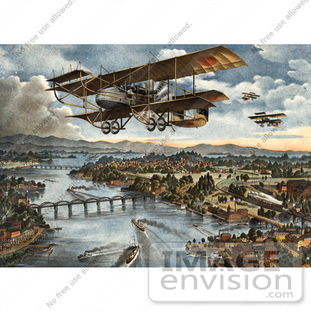#20775 Stock Photography of a War Biplane Over Vladivostok During the World War by JVPD