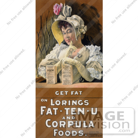 #20784 Stock Photography of a Vintage Advertisement of a Woman With Loring's Fat-Ten-U Food Tablets and Loring's Corpula by JVPD