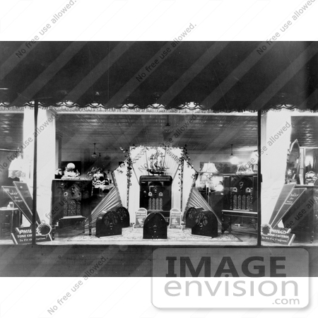 #20794 Stock Photography of a Store Window Display of Radios by JVPD