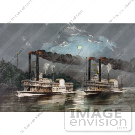 #20814 Stock Photography of Two Steamboats Racing on the Mississippi River at Night Under a Full Moon by JVPD