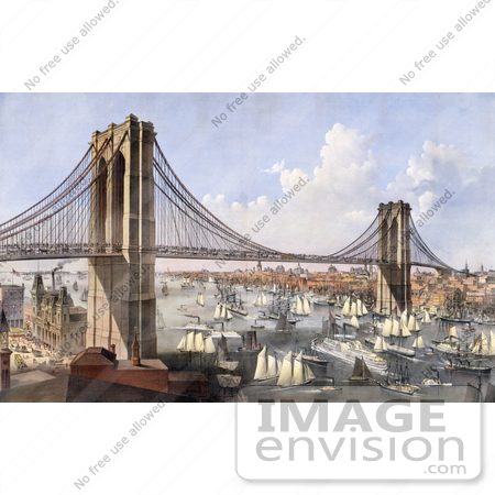 #20827 Stock Photography of Steamboats and Sailboats on the East River Near the New York and Brooklyn Bridge by JVPD