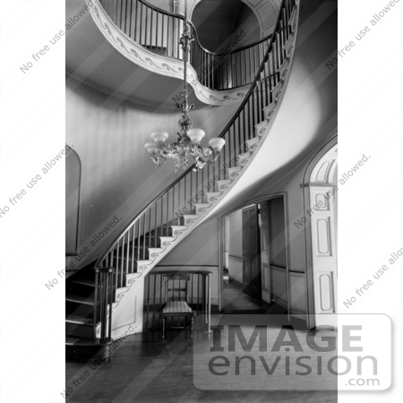#20839 Stock Photography of a Curving Staircase and Interior Balcony at the Wickham-Valentine by JVPD