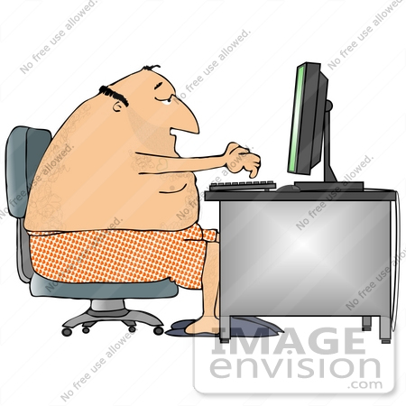 #20846 Man in Boxers Using a Computer at a Desk Clipart by DJArt