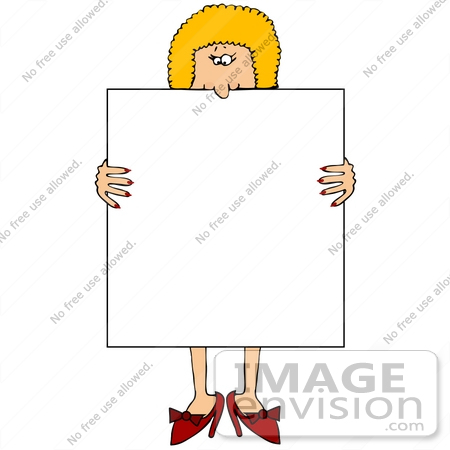 #20847 Blond Woman Holding a Blank Sign Clipart by DJArt