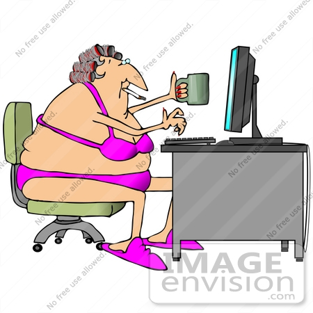 #20848 Chubby Woman With Her Hair in Curlers, Wearing a Bra and Panties, Smoking and Drinking Coffee While Using a Computer Clipart by DJArt
