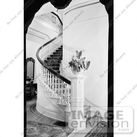 #20875 Stock Photography of the Interior Staircase of the Victorian Albert Gallatin House or Governor's Mansion, Sacramento, California by JVPD