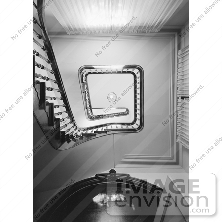 #20876 Stock Photography of an Upwards View of the Tower Stairs in the the Victorian Albert Gallatin House or Governor's Mansion, Sacramento, California by JVPD
