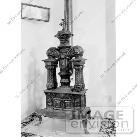 #20884 Stock Photography of an Old Cast Iron Stove in the Whaley House, San Diego, California by JVPD