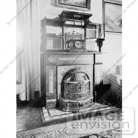#20885 Stock Photography of Old Fashioned Franklin Fireplace at the Elliot  House, Petersburg by - Stock Photography Of Old Fashioned Franklin Fireplace At The