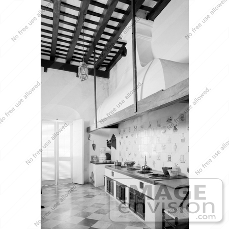 #20890 Stock Photography of the Historical Kitchen at the Casa de los Azulejos, San Juan, Puerto Rico by JVPD