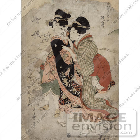 #21024 Stock Photography of the Asian Courtesan Michinoku With Attendant by JVPD