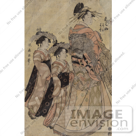 #21026 Stock Photography of the Asian Courtesian, Somenosuke, With Two Attendants by JVPD
