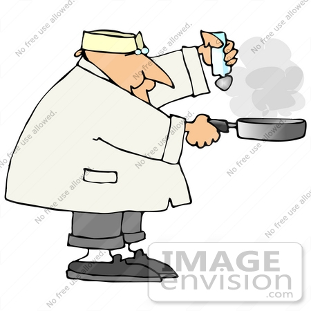 #21031 Male Chef Salting Food in a Frying Pan People Clipart by DJArt