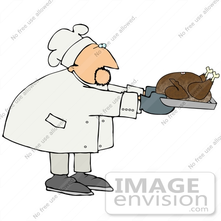 #21033 Male Chef in a Chefs Hat, Holdinga Thanksgiving Turkey in a Roasting Pan People Clipart by DJArt