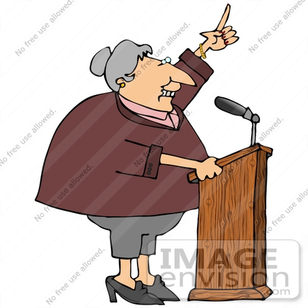 #21035 Proud Female Politician Gesturing With Her Hand While Giving a Public Speech People Clipart by DJArt