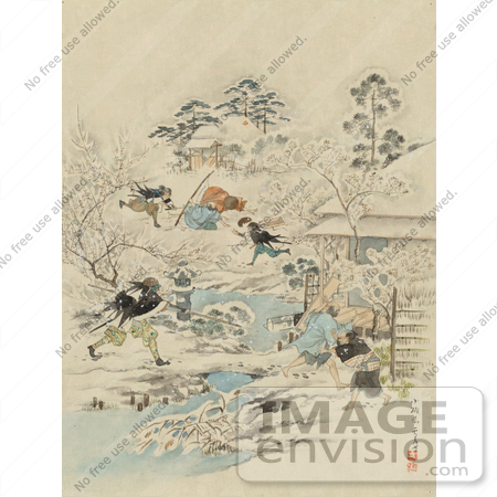 #21055 Stock Photography of Samurai Warriors Attacking a Community by JVPD