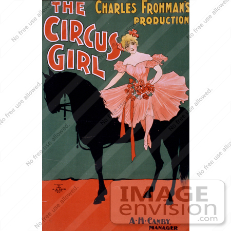 "#21096 Stock Photography of a Blond Woman Sitting on a Black Horse in ""the Circus Girl"" by Charles Frohman by JVPD"