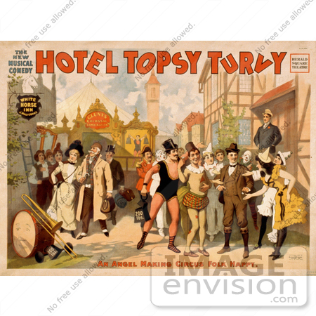 "#21098 Stock Photography of a Vintage Circus Poster for the Musical Comedy, ""Hotel Topsy Turvy"" by JVPD"