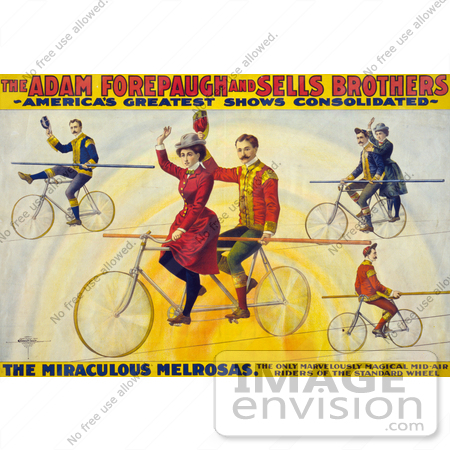 #21106 Stock Photography of the Miraculous Melrosas of the Adam Forepaugh and Sells Brothers Riding Bicycles on Tightropes by JVPD