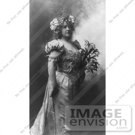#21186 Stock Photography of Lillian Russell in a Royal Dress and Crown, Holding Flowers by JVPD