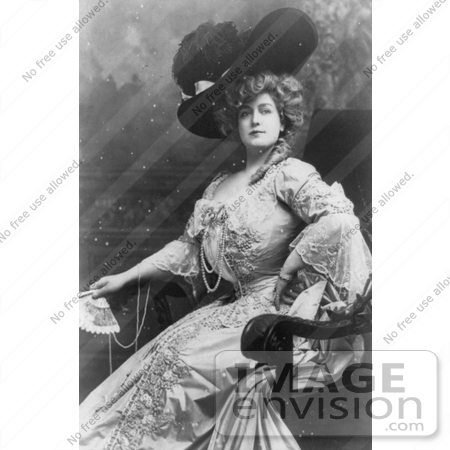 #21187 Stock Photography of Lillian Russell in a Gorgeous Dress and Feathered Hat, Holding a Fan by JVPD