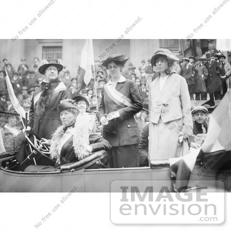 #21203 Stock Photography of Alice Paul and Doris Stevens With Other Suffragists in a Car in a Parade by JVPD