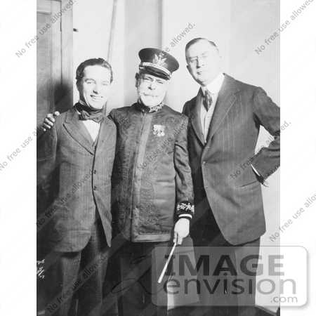 #21290 Stock Photography of Charlie Chaplin, John Philip Sousa, and Clifford Harmon in 1916 by JVPD