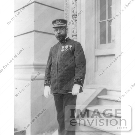 #21300 Stock Photography of John Philip Sousa in Uniform, Standing on Steps, 1904 by JVPD
